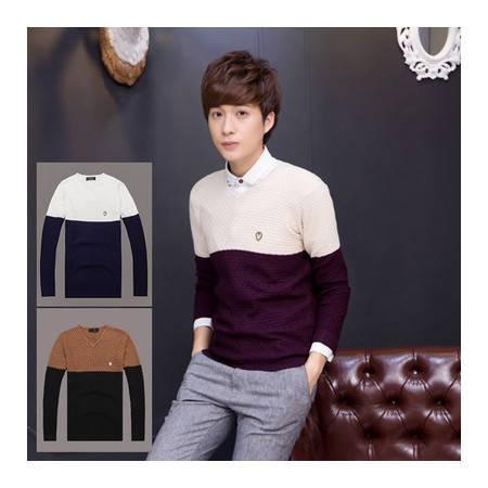 秋款休闲男士V领套头毛衣青少年款修身韩版毛衣针织衫NC530