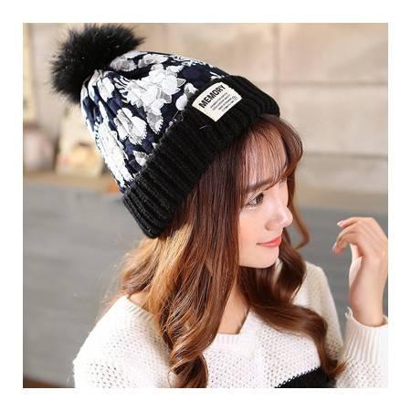 秋冬新款韩版休闲圆球针织帽混色彩球保暖蕾丝花布毛线帽子女