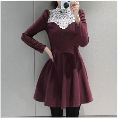 秋装新款韩版修身显瘦长袖针织拼接蕾丝花领女长袖连衣裙NC6186