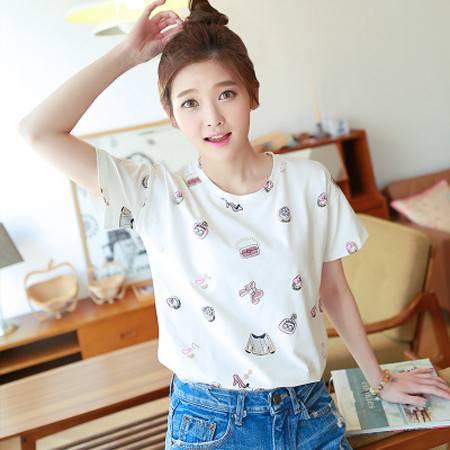 新款韩版大码女装修身短袖打底衫女士卡通T恤夏宽松NC018