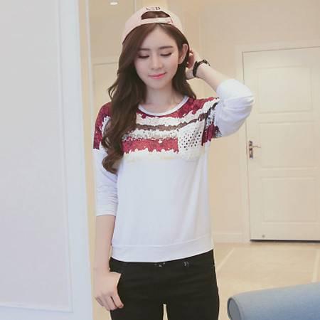 韩版2016春装新款长袖女T恤印花宽松休闲上衣女T恤NC7107