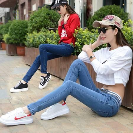 新款韩版大码小脚牛仔裤女松紧腰显瘦铅笔长裤子NC9937