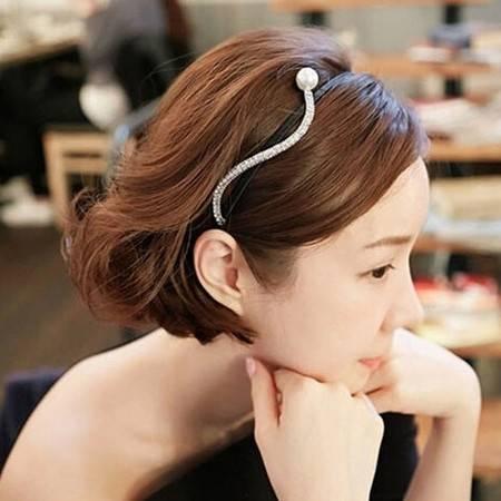 韩国仿珍珠甜美水钻发箍气质头箍细压发窟古典镶钻头饰发饰品B6205
