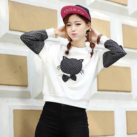新款韩版学院风中学生宽松显瘦长袖T恤NC8223