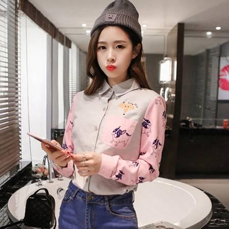 2016春新款韩版翻领动物刺绣印花拼色长袖衬衫上衣衬衣NC6542