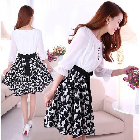 春夏新款韩版女装七分袖修身拼接碎花印花雪纺连衣裙NC6021