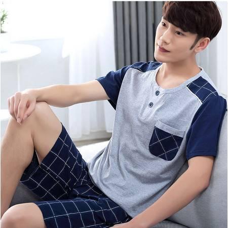 夏季男士睡衣纯棉短袖夏天薄款全棉青年男式可外穿夏款家居服套装P321