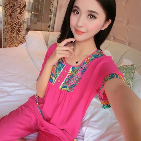 韩版夏季薄款纯棉绵绸女士短袖睡衣全棉家居服套装棉绸加肥加大码P264