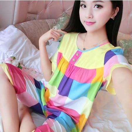 韩版夏季薄款纯棉绵绸女士短袖睡衣全棉家居服套装棉绸加肥加大码P262