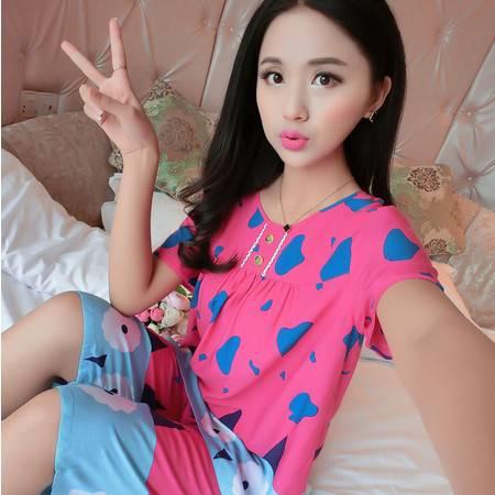 韩版夏季薄款纯棉绵绸女士短袖睡衣全棉家居服套装棉绸加肥加大码P267