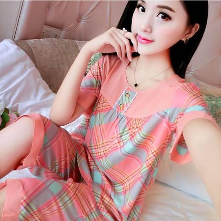 韩版夏季薄款纯棉绵绸女士短袖睡衣全棉家居服套装棉绸加肥加大码P266