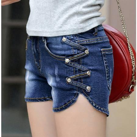 夏季薄款修身显瘦牛仔热裤女装韩版潮弹力破洞NC639
