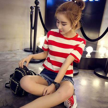 夏季大码女装韩版圆领宽松显瘦上衣横条纹短袖t恤衫女夏潮ouf338
