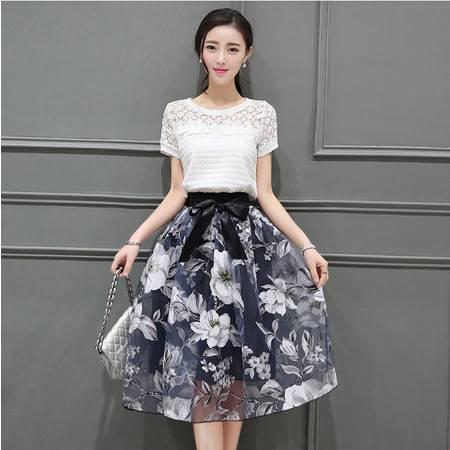 2016夏季新款女连衣裙韩版欧根纱修身中长款套装裙两件套大码裙子ouf347
