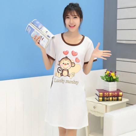 夏季女士纯棉睡裙短袖睡衣休闲韩版可爱卡通家居服NC8898