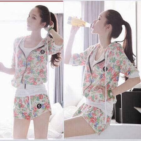 夏季韩版时尚短袖短裤运动服女宽松大码迷彩运动套两件套装休闲服ouf353
