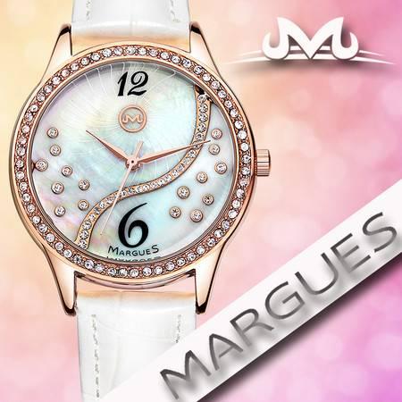玛歌斯新款潮流时尚贝壳面石英表防水真皮时装女手表B3016