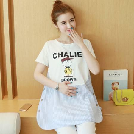 2016孕妇装夏装韩版全棉条纹拼接短袖T恤上衣NC6032