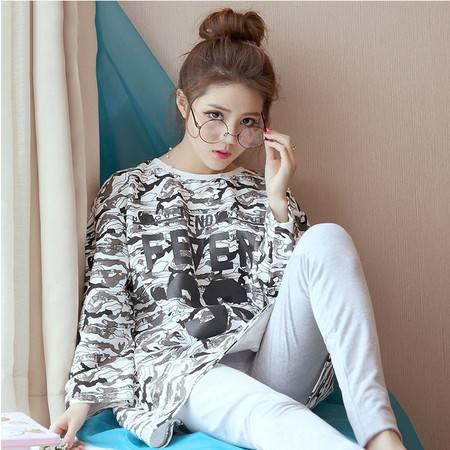 韩国家居服时尚春秋季圆领套头套装韩版甜美睡衣女夏长袖纯棉薄款P324