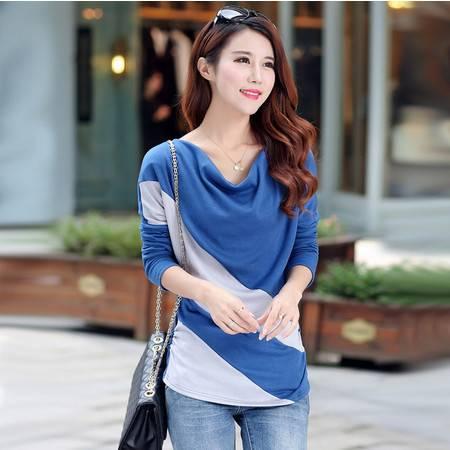 秋冬季外穿韩版大码女装宽松上衣堆堆领拼接中长款长袖纯棉T恤衫ouf369