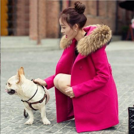 秋冬新韩版女神范毛呢双排扣纯色外套中长款女装斗篷毛领连帽大衣ouf403