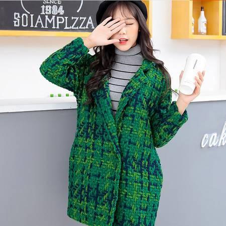 秋冬新款呢大衣2016韩国显瘦格子大衣中长款加棉学生毛呢外套ouf402