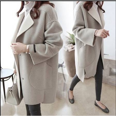 纳川 秋冬新款韩版宽松呢大衣中长款女装冬装茧型显瘦羊毛呢外套NC1835