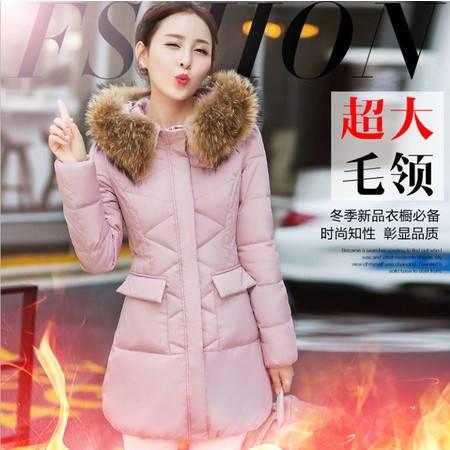 2016秋冬新款韩版棉衣女中长款修身显瘦大毛领轻薄加厚外套潮ouf415