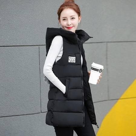 2016冬新款中长款棉马甲女韩版修身加厚大码学生外套ouf418