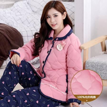 睡衣女冬加厚夹棉睡衣女士长袖针织纯棉袄家居服女冬天加大码套装P340