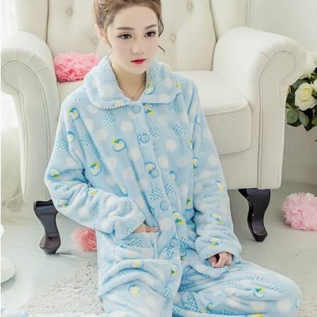 冬天睡衣女加厚珊瑚绒韩版秋季女士可爱长袖开衫法兰绒家居服套装P337