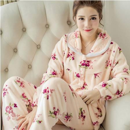 冬天睡衣女加厚珊瑚绒韩版秋季女士可爱长袖开衫法兰绒家居服套装P339