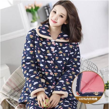 睡衣女冬加厚夹棉睡衣女士长袖针织纯棉袄家居服女冬天加大码套装P343