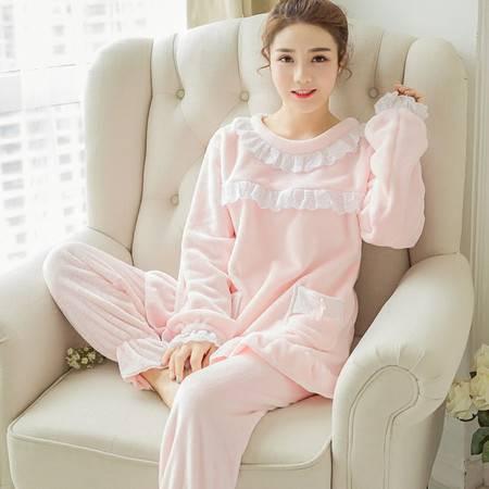 秋冬季韩版珊瑚绒长袖花边睡衣女士加厚可爱蕾丝保暖家居服NC5503