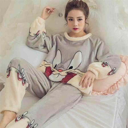 秋冬季珊瑚绒长袖家居服女士薄款法兰绒可爱卡通套装NC5021