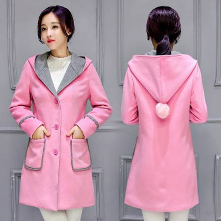 纳川 2016中长款韩版修身连帽粉色可爱日系风加棉加厚毛呢外套NC9901