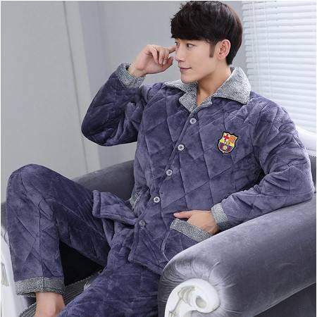 冬季夹棉睡衣男士三层加厚加大码珊瑚绒法兰绒睡衣套装家居服棉袄P359