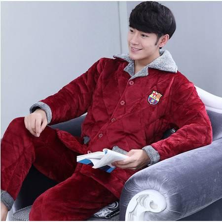 冬季夹棉睡衣男士三层加厚加大码珊瑚绒法兰绒睡衣套装家居服棉袄P362