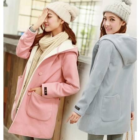秋冬女装修身甜美呢子大衣韩版加厚连帽中长款羊毛呢外套NC6657