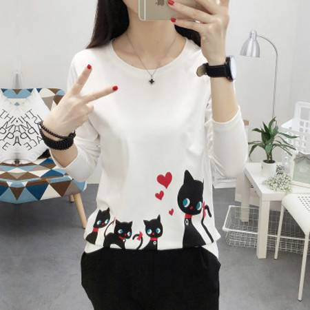 秋季新款韩版学生长袖卡通猫咪印花圆领套头t恤女打底衫NC1522