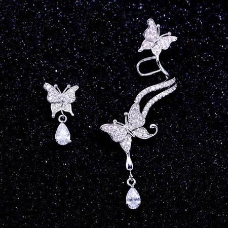 蝴蝶不对称长款耳排耳钉女925纯银针防过敏个性耳环无耳洞耳骨夹B3507