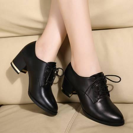 2016秋季新款单鞋女黑色粗跟真皮中跟高跟皮鞋大码女鞋TSH284