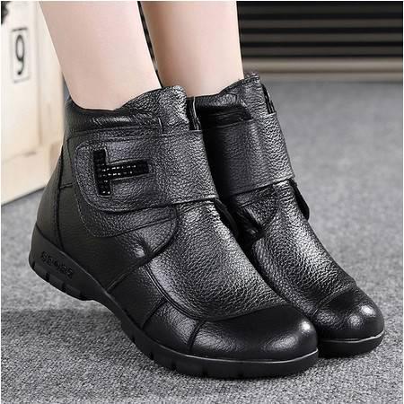 冬季真皮中老年女棉鞋平底软底短靴妈妈鞋棉靴大码防滑舒适奶奶鞋TSH296