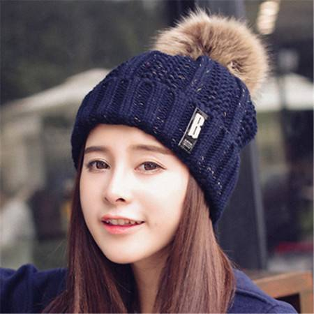 女士韩版潮可爱b标针织帽子 冬季爆款毛球毛线帽子 B1608