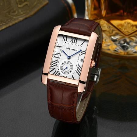 真皮带男表方形手表男时尚潮石英表商务休闲超薄防水男士手表