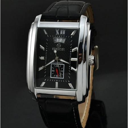 精品男装日历皮革带商务长方形休闲男士自动机械表自动手表