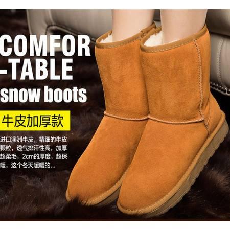 雪地靴女真皮冬靴中筒加厚保暖雪地棉平底靴男女棉鞋TSH300