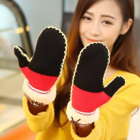 韩版可爱学生全指连指加厚加绒保暖手套毛线手套拼色B1604