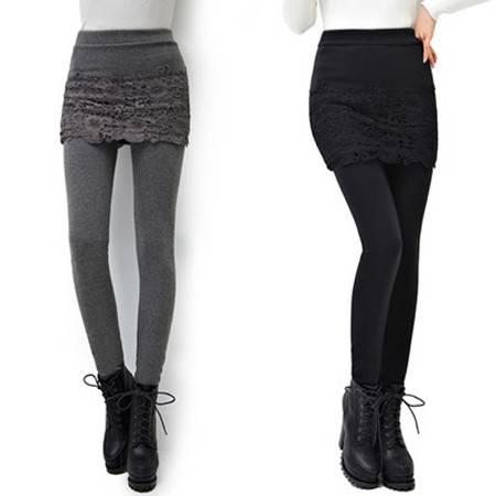 新款韩版假两件打底裤加绒加厚蕾丝拼接裙显瘦大码裤裙裤NC8132