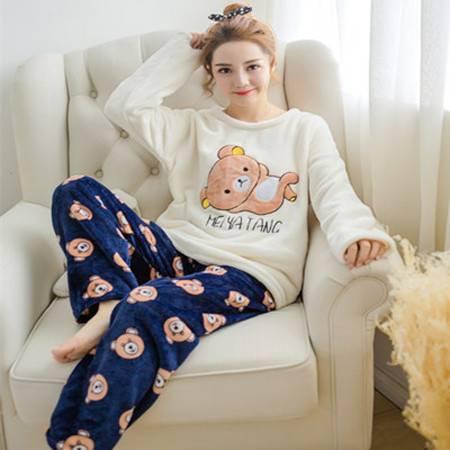 新款睡衣冬季女士珊瑚绒加厚冬法兰绒家居服女套装T703